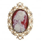 Ciondolo in Oro Bianco con Diamanti taglio brillante e Cameo<br /><em>White Gold pendant with round brilliant cut diamonds and Cameo</em>